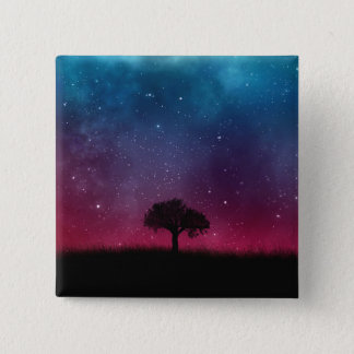 Black Tree Space Galaxy Cosmos Blue Pink Scenery 15 Cm Square Badge