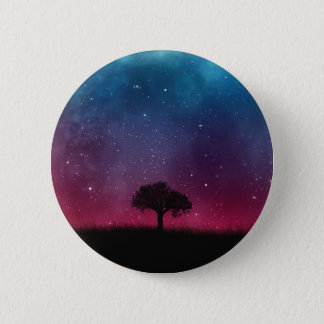 Black Tree Space Galaxy Cosmos Blue Pink Scenery 6 Cm Round Badge