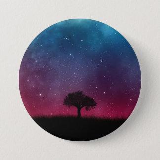 Black Tree Space Galaxy Cosmos Blue Pink Scenery 7.5 Cm Round Badge