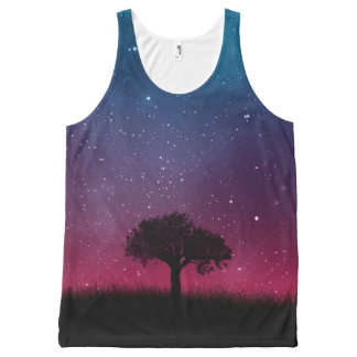 Black Tree Space Galaxy Cosmos Blue Pink Scenery All-Over Print Singlet