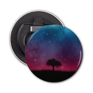 Black Tree Space Galaxy Cosmos Blue Pink Scenery Bottle Opener