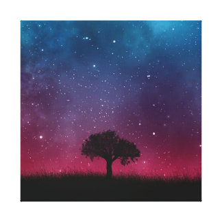 Black Tree Space Galaxy Cosmos Blue Pink Scenery Canvas Print