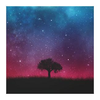 Black Tree Space Galaxy Cosmos Blue Pink Scenery Canvas Print