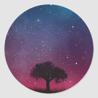 Black Tree Space Galaxy Cosmos Blue Pink Scenery Classic Round Sticker