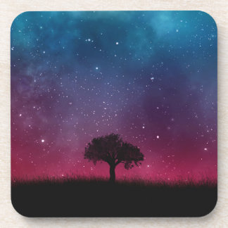 Black Tree Space Galaxy Cosmos Blue Pink Scenery Coaster