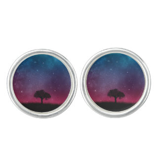 Black Tree Space Galaxy Cosmos Blue Pink Scenery Cufflinks