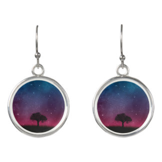 Black Tree Space Galaxy Cosmos Blue Pink Scenery Earrings