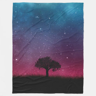 Black Tree Space Galaxy Cosmos Blue Pink Scenery Fleece Blanket
