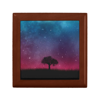 Black Tree Space Galaxy Cosmos Blue Pink Scenery Gift Box