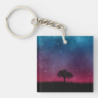 Black Tree Space Galaxy Cosmos Blue Pink Scenery Key Ring