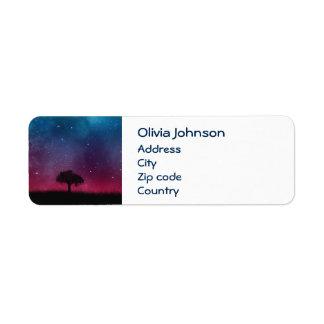 Black Tree Space Galaxy Cosmos Blue Pink Scenery Return Address Label