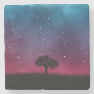 Black Tree Space Galaxy Cosmos Blue Pink Scenery Stone Coaster