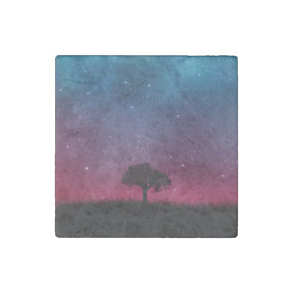 Black Tree Space Galaxy Cosmos Blue Pink Scenery Stone Magnet
