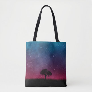 Black Tree Space Galaxy Cosmos Blue Pink Scenery Tote Bag