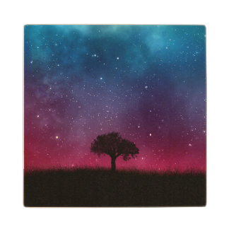 Black Tree Space Galaxy Cosmos Blue Pink Scenery Wood Coaster