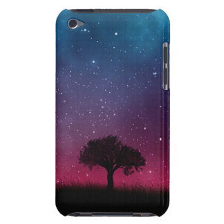 Black Tree Space Galaxy Cosmos Blue Pink Sky Barely There iPod Case