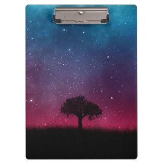 Black Tree Space Galaxy Cosmos Blue Pink Sky Clipboard