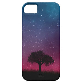 Black Tree Space Galaxy Cosmos Blue Pink Sky iPhone 5 Cover