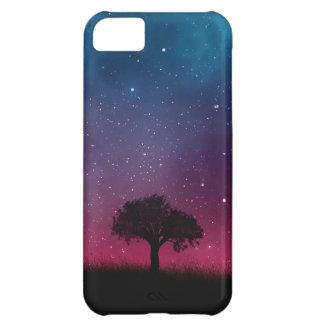 Black Tree Space Galaxy Cosmos Blue Pink Sky iPhone 5C Case