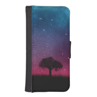 Black Tree Space Galaxy Cosmos Blue Pink Sky iPhone SE/5/5s Wallet Case