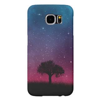 Black Tree Space Galaxy Cosmos Blue Pink Sky Samsung Galaxy S6 Cases