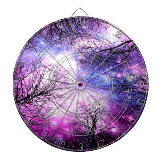 Black Trees Fuchsia Violet Space Dart Boards