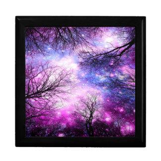 Black Trees Fuchsia Violet Space Large Square Gift Box