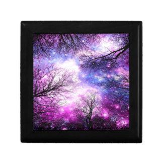 Black Trees Fuchsia Violet Space Small Square Gift Box