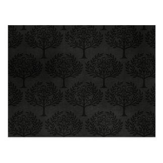 Black Trees on Dark Background Post Cards