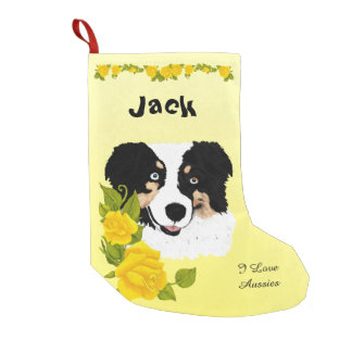 Black Tri Aussie and Yellow Roses Small Christmas Stocking