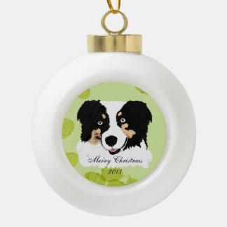 Black Tri Australian Shepherd Green Leaves Ceramic Ball Christmas Ornament