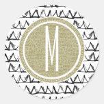 Black Triangles Gold Glitter Monogram