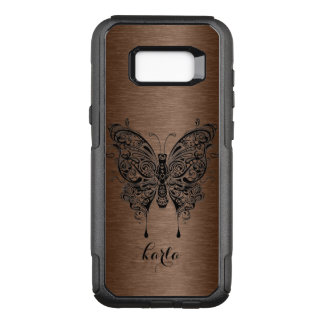Black Tribal Butterfly Brown Metallic Background OtterBox Commuter Samsung Galaxy S8+ Case