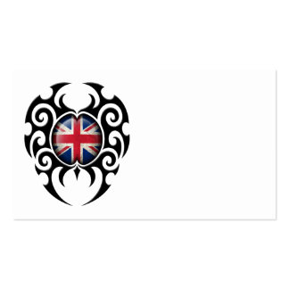 Black Tribal Cracked British Flag Business Card Templates