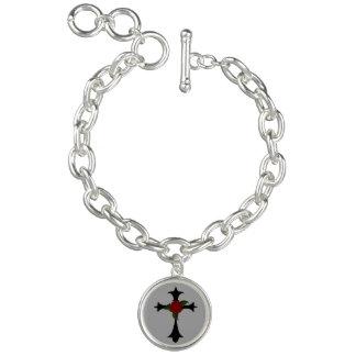 Black Tribal Cross Charm Bracelet