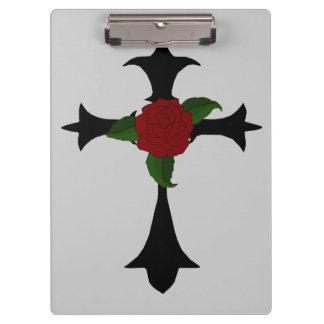 Black Tribal Cross Clipboard