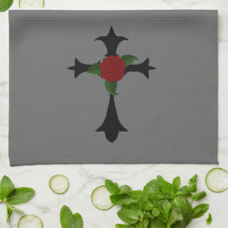 Black Tribal Cross Kitchen Towel