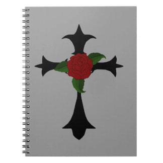 Black Tribal Cross Spiral Notebook