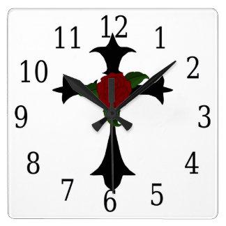 Black Tribal Cross Square Clock