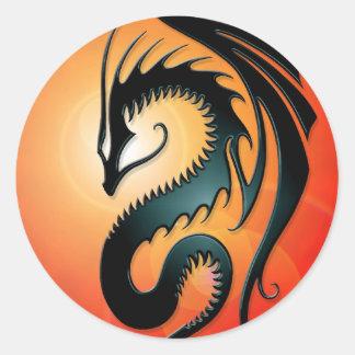 Black Tribal Dragon, red Round Sticker