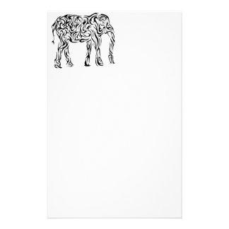 Black Tribal Elephant Custom Stationery