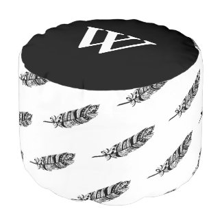 Black Tribal Feathers Personalized Pouf