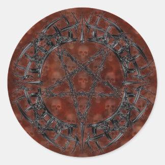 Black Tribal Pentagram Round Sticker