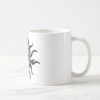 Black Tribal Sun Basic White Mug
