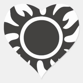 Black Tribal Sun Heart Sticker