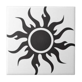 Black Tribal Sun Small Square Tile