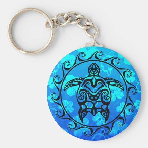 Black Tribal Turtle Key Chains