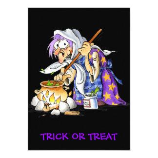 Black Trick Or Treat Halloween Card Witch 13 Cm X 18 Cm Invitation Card