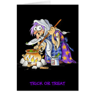 Black Trick Or Treat Halloween Greeting Card