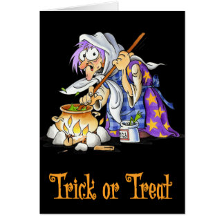 Black Trick Or Treat Halloween Greeting Card Witch